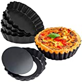 URMOSTIN 6 Piezas Molde para Quiche y Tarta de Frutas - 12cm Bandeja Hornear Rizado, Antiadherentes Pan de Quiche de Tartas Redondas con Base Extraíble - Acero Carbono