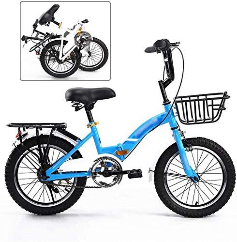 Le ragazze dei ragazzi dei bambini Bicicletta pieghevole, Bambino giovanile Mountain bike, Sport Tempo mountain bike, telaio in acciaio pieghevole Kids Bike MTB, 20 pollici bici BMX (Colore: Blu, Dime