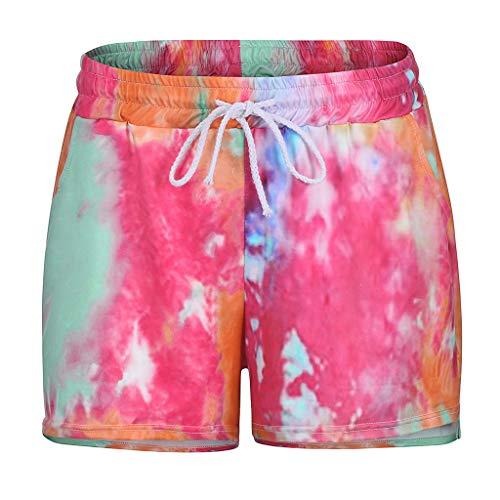 Women's Running Workout Shorts Yoga Sport Fitness Short Pants,Tie Dye Print Drawstring Shorts Elastic Waist Comfy Pants