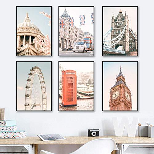 Big Ben Tower Bridge London Eye paisaje pared arte lienzo pintura carteles nórdicos e impresiones cuadros de pared para decoración de sala de estar   30x45cmx6 sin marco