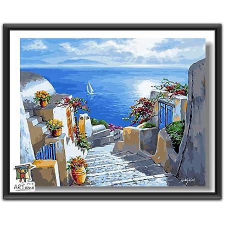 ARTomo【アトモ】パズル油絵『フレーム付き』数字 油画 DIY 塗り絵 本格的な油絵が誰でも簡単に楽しく描ける 40x50cm (私のギリシャ風)