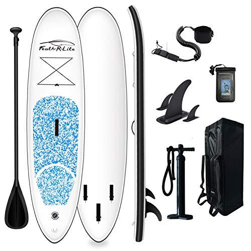 FunWater Stand Up Paddle Board hinchable 305 x 76 x 15 cm, accesorios completos, remo ajustable, bomba, mochila de viaje, correa, bolsa impermeable, hasta 100 kg de capacidad de carga