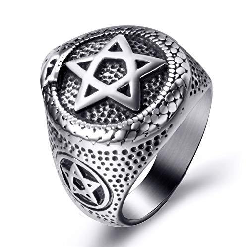 Elfasio Men Stainless Steel Rings Ouroboros Snake Serpent Eating Tail Pentagram Masonic Ring