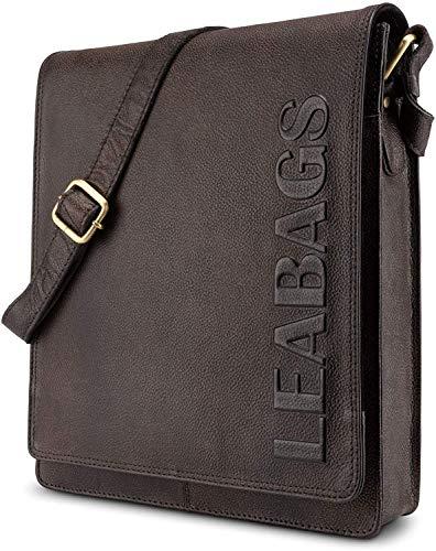 LEABAGS London Leder-Umhängetasche I Laptoptasche bis 13 Zoll I Messenger Bag aus echtem Büffel-Leder im Vintage Look I Schultertasche I Arbeitstasche I 26x8x31cm (Merlot)