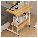 ABD Mesa de sobrecama con ruedas para sobrecama/silla, mesa de sobrecama, altura ajustable, escritorio, escritorio, oficina, sala de conferencias (color: nogal, tamaño: 60 x 40 cm)