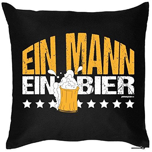 Goodman Design  Kissenbezug mit lustigem Motiv - EIN Mann, EIN Bier - Maßkrug - Geburtstag - Party-Gag