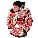 Moda 3D Funny Sudaderas Divertidas Unisex Unisex Carne Fresca Carne de Res Hotstyle Pullover Color 2 XXL