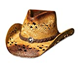 Stars & Stripes Westernhut und Strohhut Coyote - Westernhut Cowboyhut Westernkleidung Strohhut für Damen und Herren (X-Large) Beige