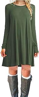 ZNYSTAR Women's Casual Plain Simple Long Sleeve T-Shirt Loose Dress