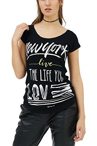 trueprodigy Casual Mujer Marca Camiseta con impresión Estampada Ropa Retro Vintage Rock Vestir Moda Cuello Redondo Manga Corta Slim Fit Designer Fashion T-Shirt, Colores:Black, Tamaño:XS