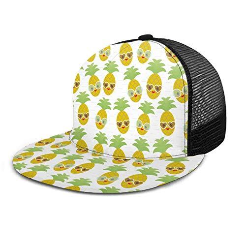 Kawaii - Gorra de béisbol unisex con cara de piña con gafas de sol, estilo polo, clásico, informal, liso, sombrero para papá, color negro