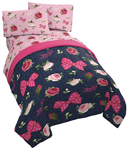 Jay Franco Nickelodeon JoJo Siwa Roses & Bows 5 Piece Full Bed Set - Includes Comforter & Sheet Set - Super Soft Fade Resistant Polyester - (Official Nickelodeon Product)