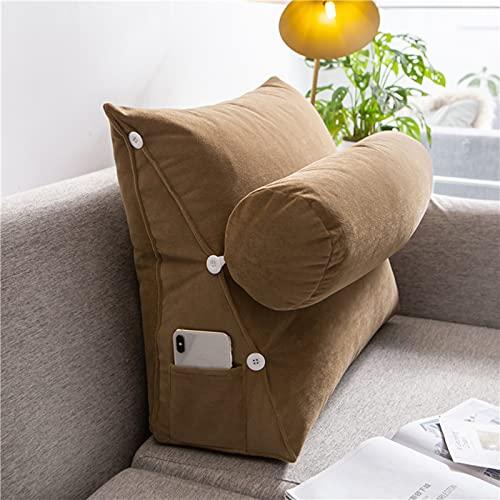 QZENENE Almohada de cuña para cama con almohada ajustable para el cuello de 45,7 x 45,7 x 20,5 cm, cojín de lectura, respaldo de respaldo para sofá cama, cama y juegos de lectura, color marrón claro