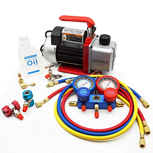 AUTOGEN Portable 4CFM 1/3HP Air Vacuum Pump, HVAC R134a R12 R22 R502 A/C Refrigeration Kit AC Manifold Gauge Set Kit, Perfect for AUTO & Home Air Conditioning Units