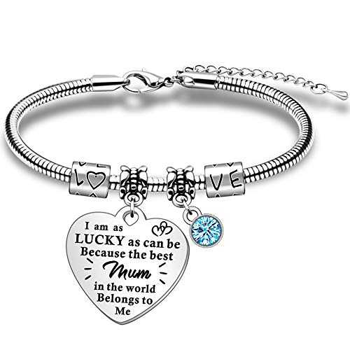 JETTOP Mum Gift Bracelet from Daughter Son Mummy Woman Personalized jewelry Gifts Mother's Day Present for Mama Grandma Christmas Birthday