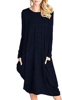 CNFIO Falda de Invierno Mujer Vestidos Largos Casual Tallas Grandes Maxi Dress Floral Print