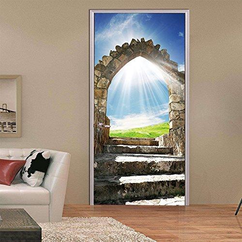Murales Para Puertas Impermeable Autoadhesivo Del Paisaje De La Escalera De Piedra Del Cielo Azul 3D De La Sol Papel Pintado Puerta Mural Pegatinas 95 X 215 cm