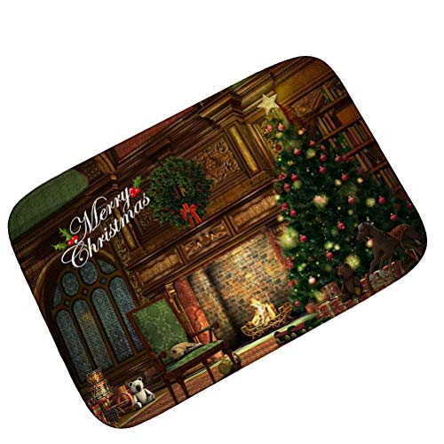 Large Outdoor Door Mats Rubber Shoes Scraper Merry Christmas Tree Fireplace  For Front Door Entrance Outside 18x30(IN)