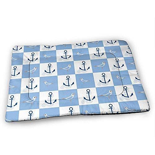 YAGEAD Nautische Anker und Seabird Hundebettmatte mit wasserdichtem rutschfestem Boden, waschbare Hundekistenmatte für schlafende Haustierpolster
