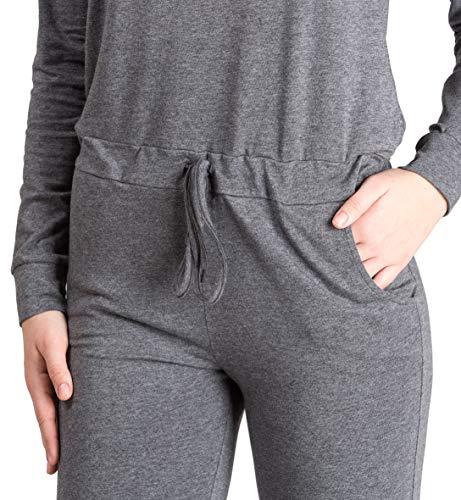 maluuna Damen Jumpsuit mit Bündchen an Arm- und Beinabschluss und Kordelzug, Größe:40/42, Farbe:anthrazit-Melange - 4
