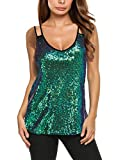 Zeagoo Women's Sleeveless Sequin Top Sparkle Shimmer Camisole Vest Tank Tops Dark Green XX-Large