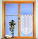 Fashion&Joy - Gardine Scheibengardine für Flügelfenster - Höhe 50-75 cm - Breite 45-52 cm - edler Jacquard Landhaus in weiß - Ökotex Typ86