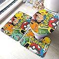 Poke-mon 1 Bath Mat 3 Piece Set Bathroom Carpet Set Soft Anti-Skid Pads Bath Mat + Contour Pads + Toilet Lid Cover, Absorbent Carpet Bath and Mat Anti-Slip Pads Set 31.5 x 19.5 INCH
