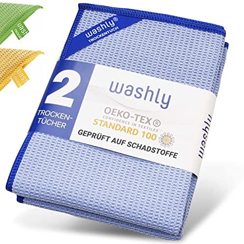 washly Mikrofaser Trockentuch in Spitzenqualität mit OEKO-TEX Siegel (2 Stück 40x60 cm blau) Premium Waffeltuch speziell für Küche, Bad und Haushalt - streifenfrei & fusselfrei Glas und Fenster putzen