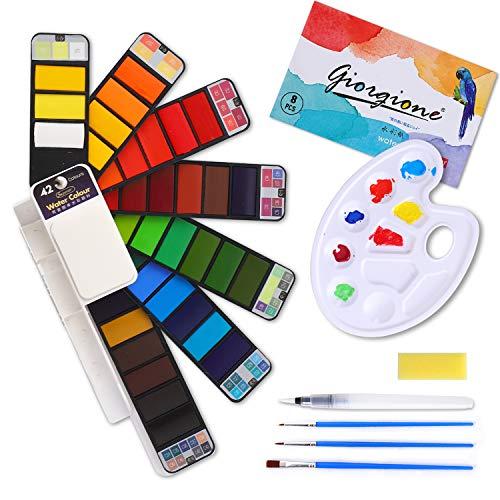 Colmanda Set de Acuarelas, 42 Colores Acuarelas + 3 Pinceles + 1 Cepillo de Agua +1 Esponja + 1 Libro de Acuarela + 1 Paleta Caja de Acuarelas Sólidas para Profesionales y Principiantes