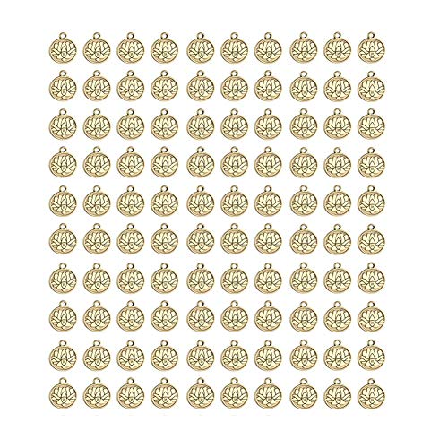 Mystart 100 Pieces Antique Gold Small Round Tag Lotus Charms Pendants Bracelet Jewelry Making Accessories