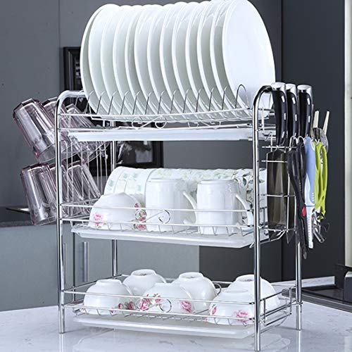 GODNECE - Escurridor de platos con bandeja de goteo, 3 niveles, escurreplatos de hierro forjado, escurreplatos de cocina con soporte para tazas, color blanco
