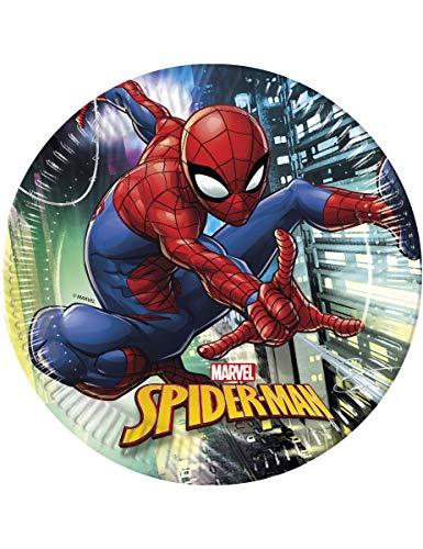 Procos Spiderman-Partyteller Häuserschlucht-Motiv 8 Stück bunt 23cm Ei