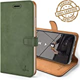 Perkie Handmade Genuine Leather Wallet Flip Case Kick Stand Magnetic Closure Flip Cover for Apple iPhone 8 Plus + (Army Green)