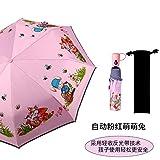 Paraguas Clásicos Paraguas Colegiala Infantil Protector Solar Plegable Automático Paraguas-Conejo De Brote Rosa Automático - Lluvia Y Lluvia Tira Reflectante De Doble Uso