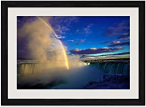 Canada Niagara Falls Fog Snow Winter Rainbow - Art Prints Wall Wood Frames Posters Framed Picture Home Décor(20x14inch Black Frame)