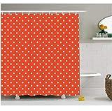 Abstraktes Dekor Duschvorhang von niedlichen Vintage Polka Dots Muster Trendige Mädchen r&en Flecken Design rot weiß 180 x 200 cm