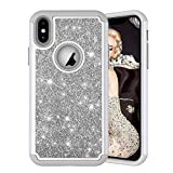 HMTECHUS iPhone 10 case Rhinestone Bling Glitter for Girls Women Slim Hybrid Soft TPU Bumper Hard PC Shock Absorptio Protective Cover for iPhone X/XS - Diamonds 2 in 1 Gray YB