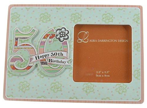 Laura Darrington Carton Patchwork Collection 19 cm-Cadre en bois pour Photo Happy 50th Birthday, Photo de 10 x 15 cm