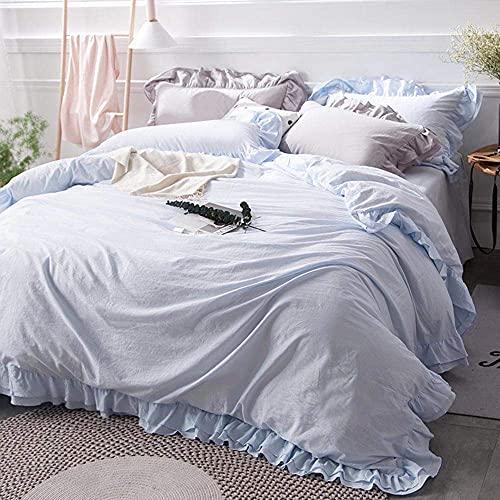 FHKBK Einfarbiger Kissenbezug 4-teiliges Bettlaken-Set Gerüschter Bettbezug Plissee Laken Twill-Spitze-Tagesdecke