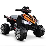 Kidzone Kids Electric ATV Quad Ride-On Car Toy, 2 Speed Options, Realistic Engine Sounds, ASTM F963 Certified, Orange