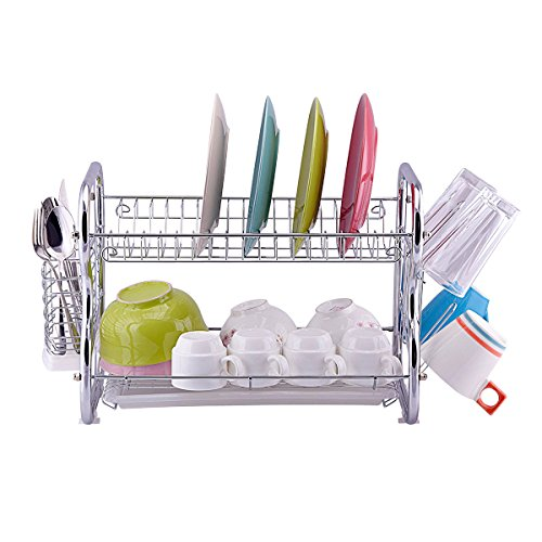 Toplife 3 Tier Stainless Steel Rust Proof Kitchen Dish Drainer Drying Rack