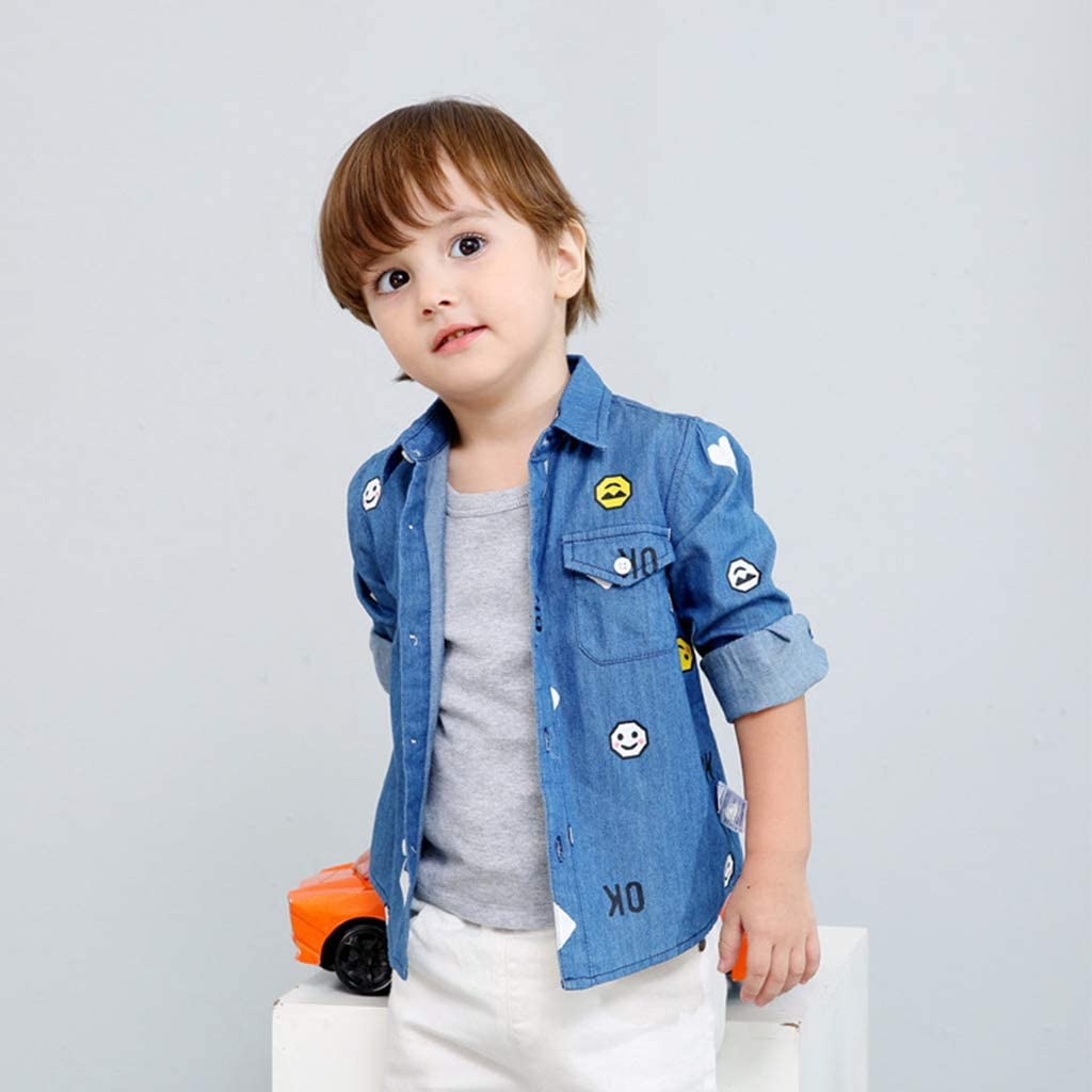 Camisa vaquera para niños chicos Polo azul Tops Ropa de manga ...