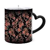 Patrón sin costuras con tazas mágicas de café tradicional chino sensible al calor - Té de café Taza de calor cambiante única Tazas de 11 oz Idea de regalo para mamá, papá, mujer, hombre, 46860