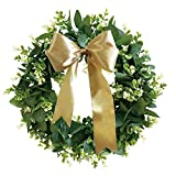 LUCKY FLOWER Front Door Wreath, 13 inches Artificial Eucalyptus Wreath, Green Leaves Wreath with DIY Ribbon, Farmhouse Greenery Wreath for Front Door Wall Window Home Wedding Party Decoration