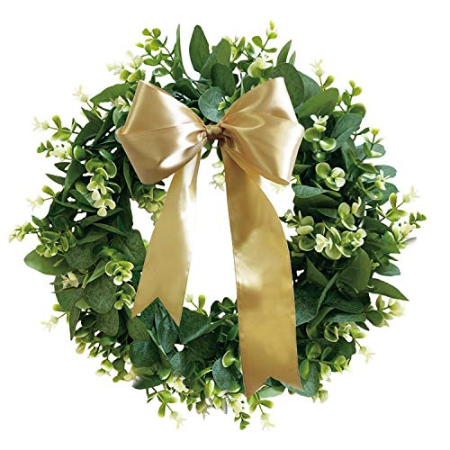 LISRSC Door Wreath, 16 inches Artificial Eucalyptus Wreath, Green Leaves Wreath with DIY Ribbon, Indoor Outdoor Wreath for Front Door Wall Window Home Christmas Thanksgiving Hanging Decoration