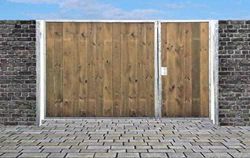 Elektrisches Einfahrtstor Sas Tor Holztor Gartentor Hoftor Verzinkt mit Pfosten & Holzfüllung 2-flügelig 400cm x 180cm