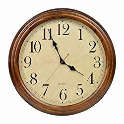 16-Inch Solid Wood Silent Non-Ticking Decorative Wall Clock with Large Arabic Numerals