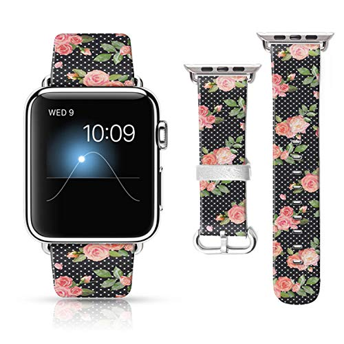 LAACO Leather Band Compatible with iWatch SE Series 6 38mm 40mm, Genuine Leather Fadeless Pattern Printed Vintage Replacement Strap Classic Bands Compatible with iWatch 6/5/4/3/2/1 Black Dots