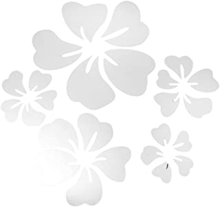 Acrylic Mirror Effect 3d Wall Decals Flower Shaped Mirrors Stickers Pack of 5 Set