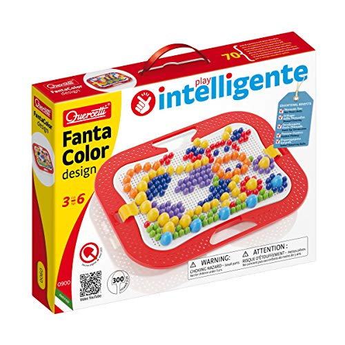 Quercitti-Quercetti-0900 Fantacolor Dibujo Mix-Juego de mosaicos, Multicolor (QUERCETTI 13/0900)